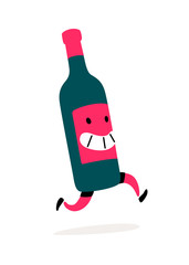 Illustration of a running bottle of wine.  Character bottle with wine or liquor. Icon for site on white background. Sign, logo for the store alcoholic products. Delivery of alcoholic beverages.