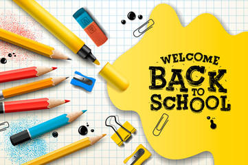Welcome Back to School, poster and banner with colorful pencils and elements for retail marketing promotion and education related. Vector illustration.