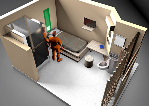 3d reconstruction of a prison cell, ADX Florence Supermax, Colorado penitentiary. US maximum security penitentiary center. Held in a prison cell. 3d rendering