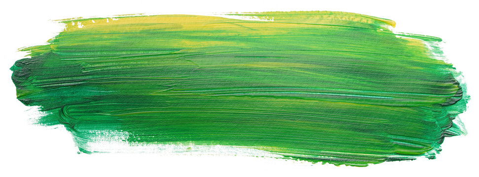 green yellow acrylic stain element on white background. with brush and paint texture hand-drawn. acrylic brush strokes abstract fluid liquid ink pattern