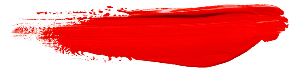 red acrylic stain element on white background. with brush and paint texture hand-drawn. acrylic brush strokes abstract fluid liquid ink pattern