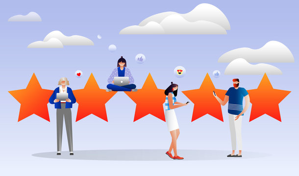 people leave online reviews about purchased products through the Internet, satisfied customers, the best work, high price 5 stars, successful work is the high. illustration. characters design.