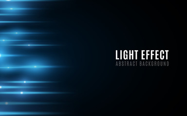 Wall Mural - Abstract background of blue glowing lines. Light effect. Futuristic blurred neon lines on dark background. Vector illustration