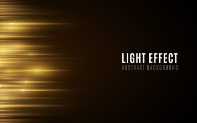 Wall Mural - Abstract background of golden glowing lines. Light effect. Futuristic blurred neon lines on dark background. Vector illustration
