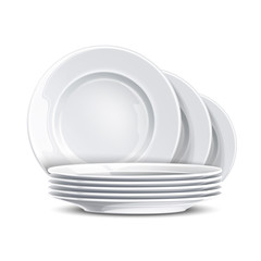 Fototapeta Stack of clean plates. Vector restaurant dishes mockup. Realistic dishware, stacked kitchen tableware. Ceramic dishes pile. Isolated illustration obraz