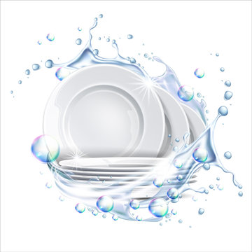 Stack of clean plates in water splash. Vector restaurant dishes mockup. Realistic dishware in liquid explosion, stacked kitchen tableware. Ceramic dishes pile. Isolated illustration