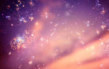 Wall Mural - Mystical mystic magic esoteric background with stars in purple pink tonality