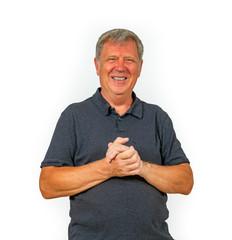 portrait of trustful smiling mature man