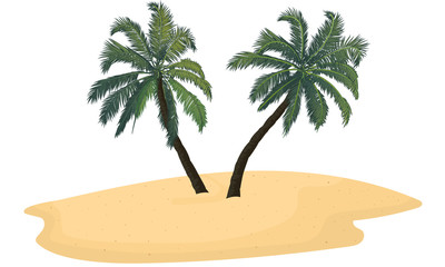 Obraz Isolated sand island with two palm trees, vector art illustration. - fototapety do salonu