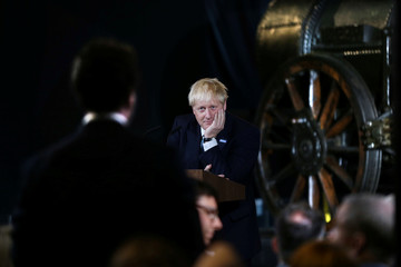 Britain's Prime Minister Boris Johnson looks on during a speech on domestic priorities at the Science and Industry Museum in Manchester
