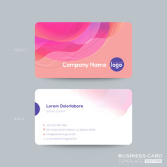 modern business card, membership card, club card design template with abstract pink fluid circle shape with vivid colors gradient on old rose pastel color background