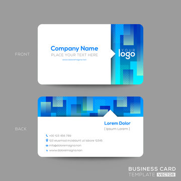 blue business card, membership card, VIP club card template with abstract rectangle shape graphic element on white background. modern design.