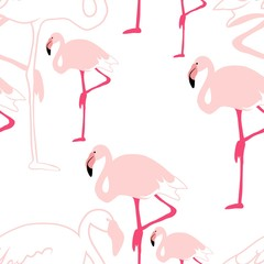 Tuinposter Flamingo Silhouettes of birds, flock of pink flamingos, seamless pattern, vector for fabric design.