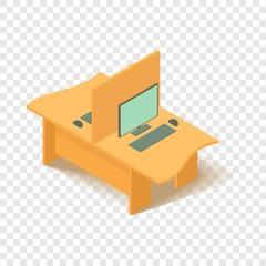 Yellow computer table icon. Isometric illustration of yellow computer table vector icon for web
