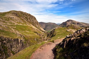 Sunlight on the track at Piers Gill