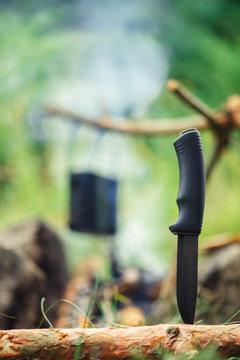 Bushcraft survival knife best friend in forest