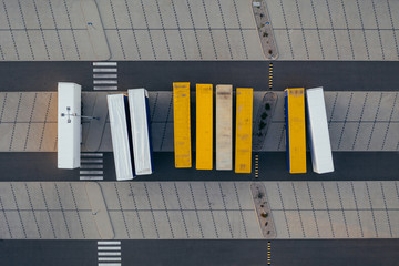 Aerial view of the distribution center, drone photography of the industrial logistic zone. Wall mural