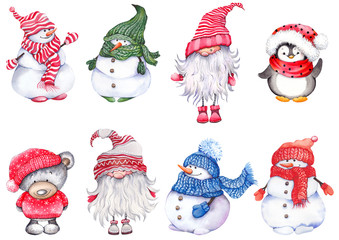 Set of Christmas cartoon characters, wearing knitted hats, scarves and mittens. Cute snowmen, teddy bear, penguin and scandinavian dwarf. Watercolor isolated on white background.