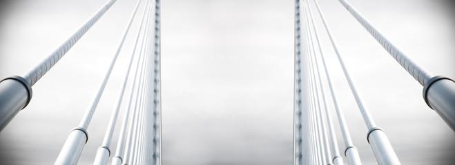 Fondo arquitectónico abstracto. Detalle de un puente colgante metálico sobre el cielo. Arquitectura e infraestructuras urbanas. Diseño e ingeniería en construcción. Fotomurales