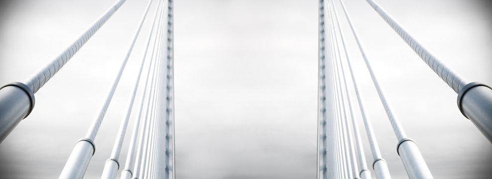 Fondo arquitectónico abstracto. Detalle de un puente colgante metálico sobre el cielo. Arquitectura e infraestructuras urbanas. Diseño e ingeniería en construcción.