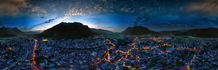 Garmisch-Partenkirchen aerial nightshot 360° Wall mural