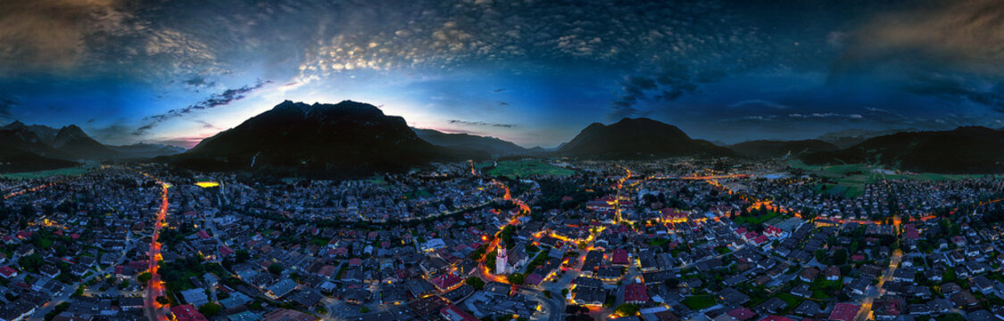 Garmisch-Partenkirchen aerial nightshot 360°