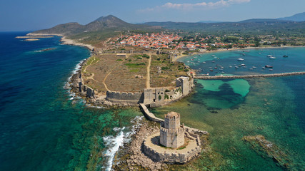 Aerial drone panoramic view of iconic Venetian castle of Methoni and Bourtzi tower on the southwest cape of Messinia, Peloponnese, Greece Wall mural