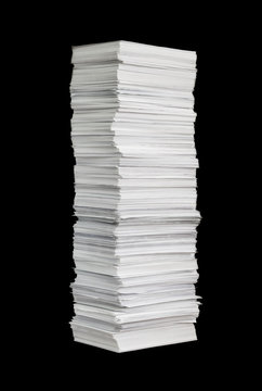 paper stack on the black background