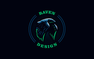 Flying raven in minimalist style