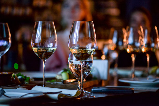 glasses of wine on table in restaurant