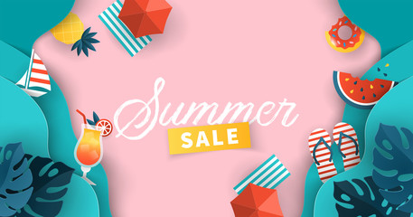 Summer sale banner design with paper cut tropical leaves, sea waves and  summer symbols background.