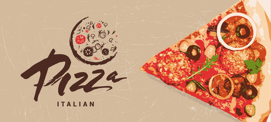 Hand drawn logotype of pizza. Italian pizza made with passion, love. Cooking vector editable template. Cover, label, background, layout, menu, packaging, logo