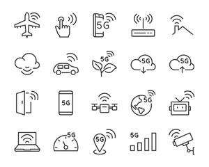 set of 5g icons, such as wifi, internet, iot, cloud, technology, smart home, network, connect