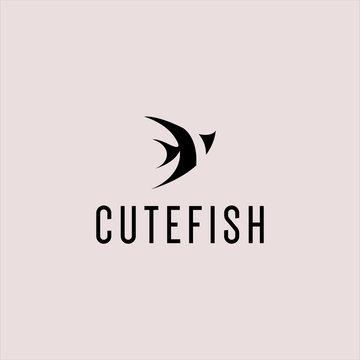 guppy fish logo. guppies logo design. silhouette guppies logo. vector illustration. modern style