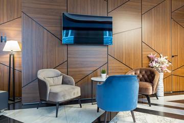 Interior of a modern hotel lobby