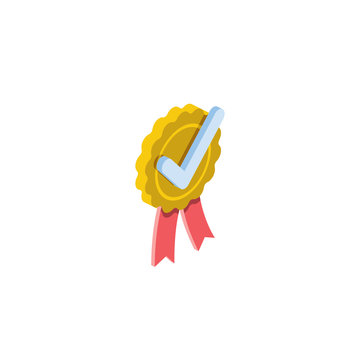 Medal check mark. Vector 3d isometric, color web icons, new flat style. Creative illustration, idea for infographics.