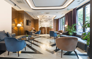 Obraz Interior of a modern hotel  lounge cafe bar restaurant - fototapety do salonu