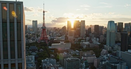 Wall Mural - Tokyo tower in the city at sunset