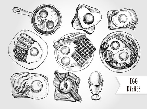 Ink hand drawn set of various egg dishes for breakfast. Food elements collection for menu or signboard design. Vector illustration.