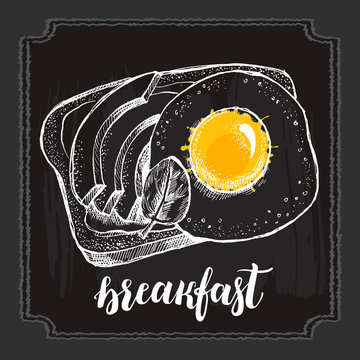 Crispy toast with fried egg and avocado slices. Ink hand drawn Vector illustration in vintage style. Food element for menu design.