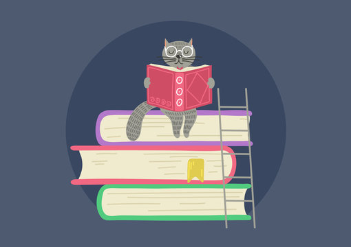 Storytelling. Cat reading book sitting on stack of books.