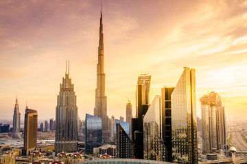 Door stickers Dubai Dubai downtown skyline