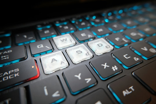 The gaming keyboard shines with multi-colored keys ,asdf button in center