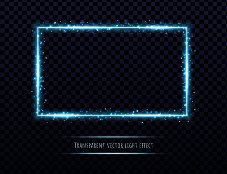 Blue neon frame with light effects isolated on transparent background. Shining rectangle border with glowing sparkles.
