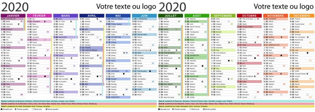 Calendrier 2020 avec fêtes et saints - Texte vectorisé + non vectorisé sur calque séparé