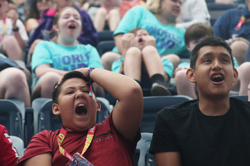 Fans react during the Fortnite World Cup Duos Finals at Flushing Meadows Arthur Ashe stadium in New York