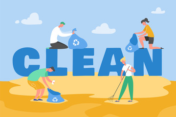 Set of Volunteer people characters gathering garbage and plastic waste for recycling, environmental protection and separation to reduce environment pollution concept vector Illustrations