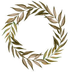Wreath with pampas grass, watercolor hand draw floral element in boho style, isolated on white background