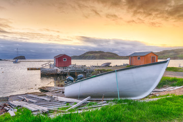 Sunset in fishing village in Newfoundland, Canada