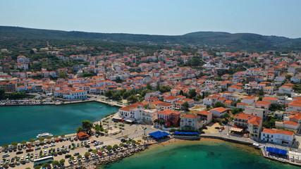 Aerial drone photo of iconic medieval castle and village of Pylos or Pilos in the heart of Messinia prefecture, Peloponnese, Greece